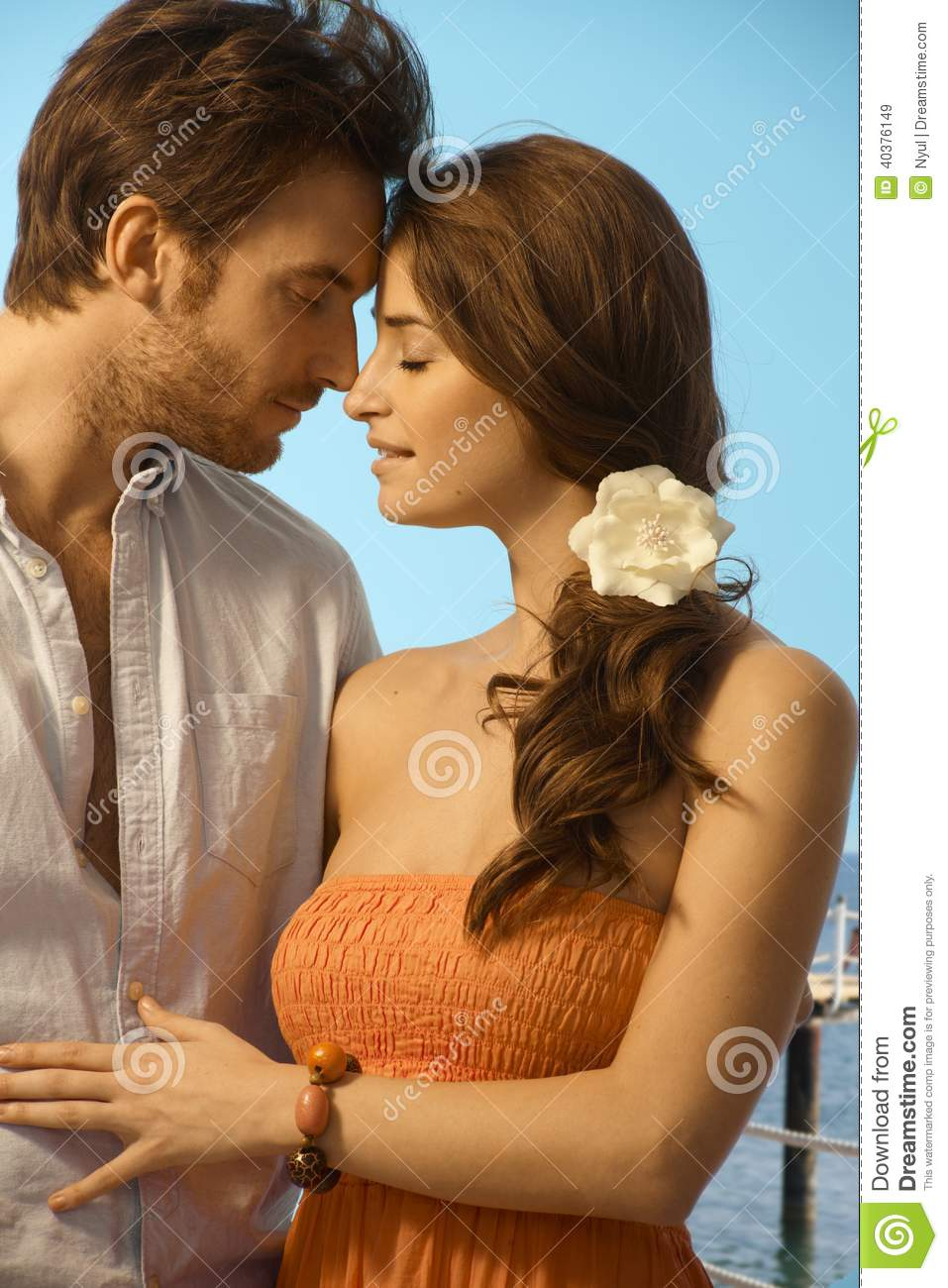 Young couple having a romantic holiday moment