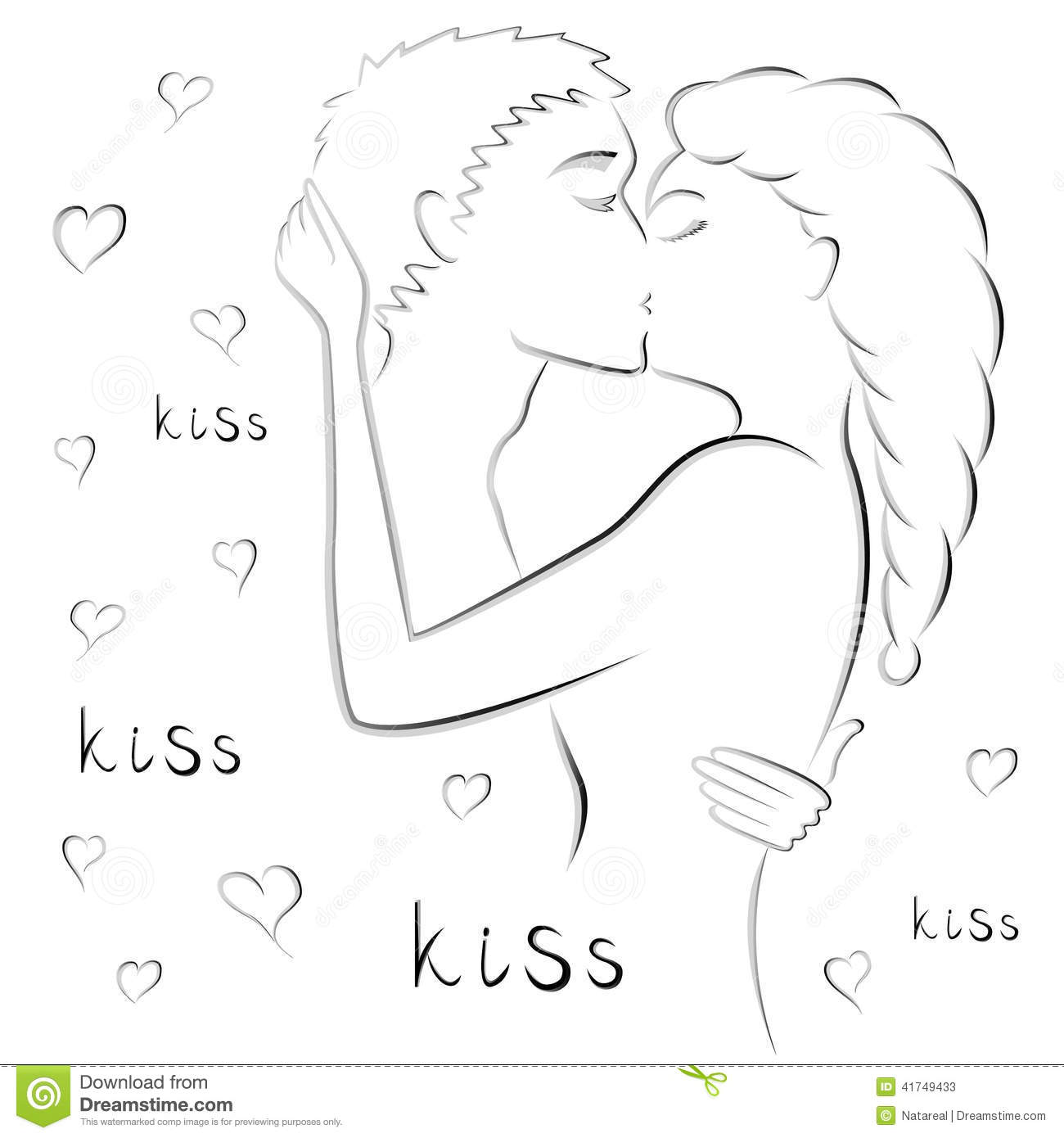 Young couple kissing stock vector image of appetency for Foto di due che si baciano