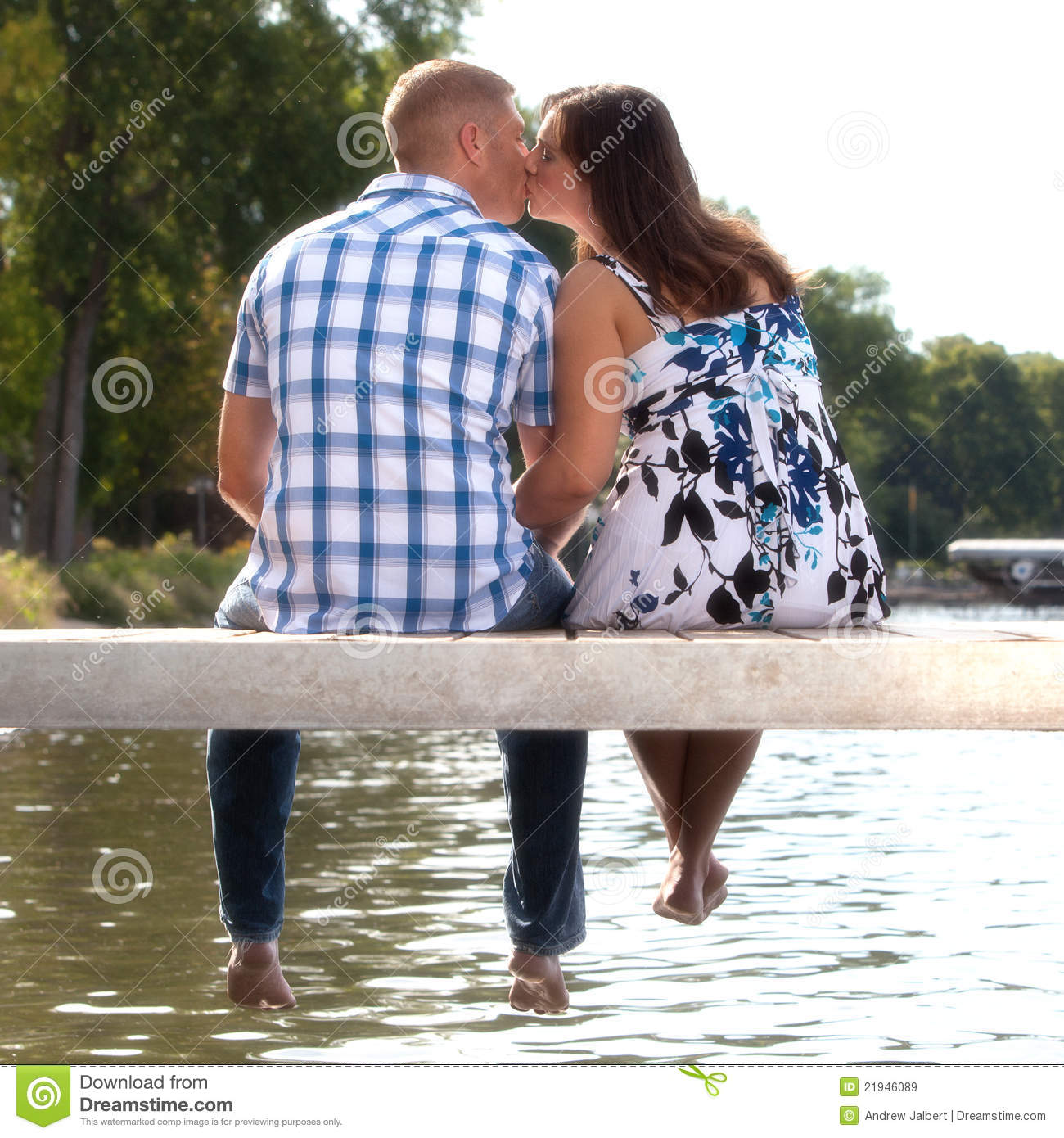Young Couple Kissing Lake Pier Royalty Free Stock Images Image