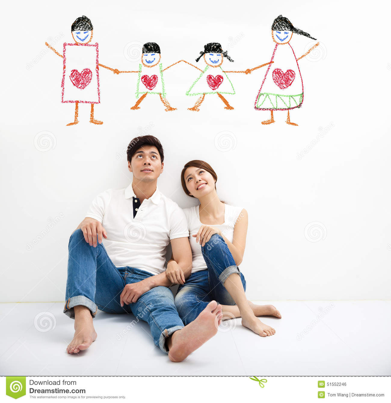 Young Couple looking the family concept draw