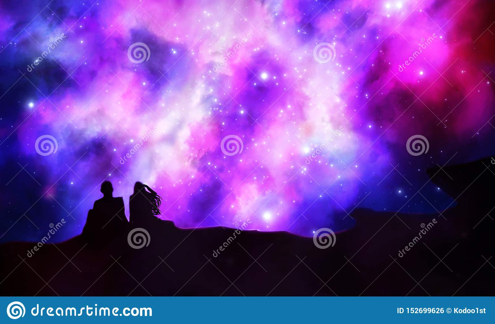 Young Couple In Love Looking Up To The Universe