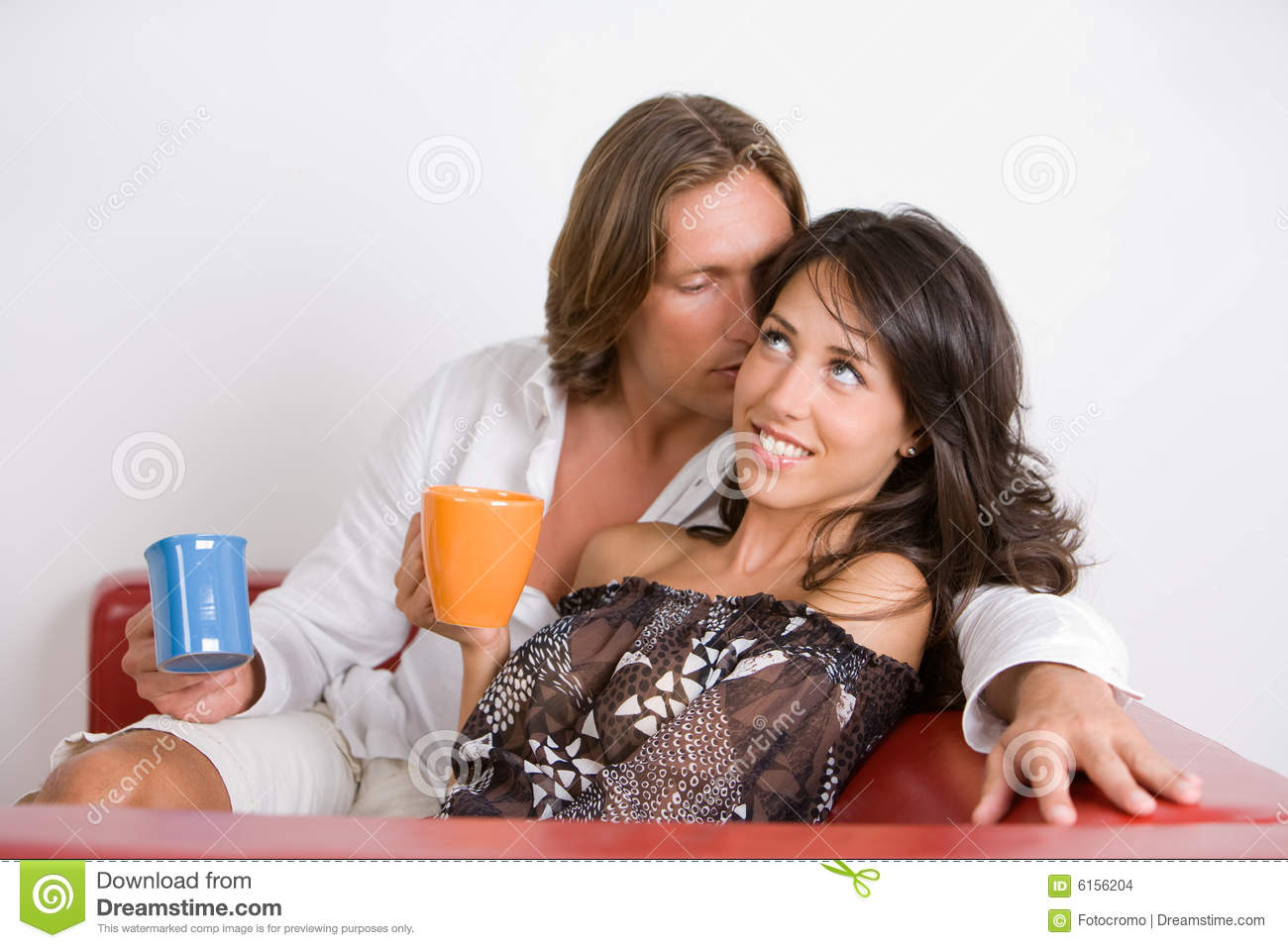 Young Couple In Love Whisper Love Words Stock Photo - Image