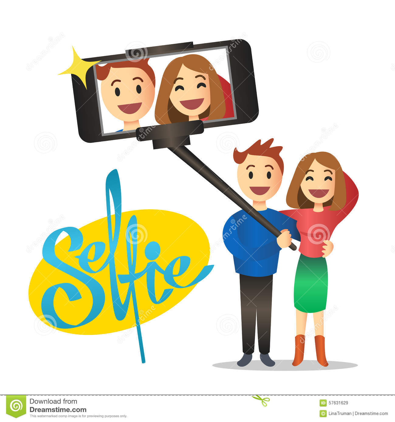 young couple making self portrait using selfie stick vector stock vector image 57631629. Black Bedroom Furniture Sets. Home Design Ideas