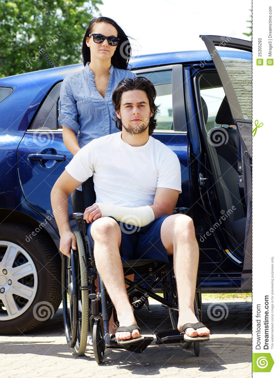 Car Accident Insurance >> Young Couple With Man In Wheelchair Stock Image - Image: 25305283