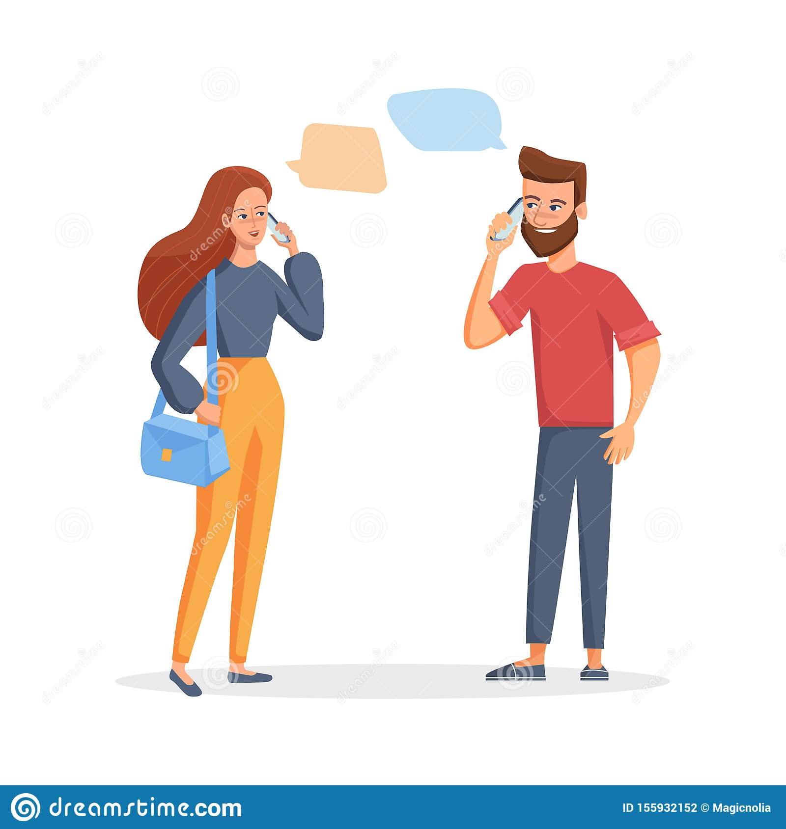 Young couple man and woman talking on the phone. Vector illustration in a flat style