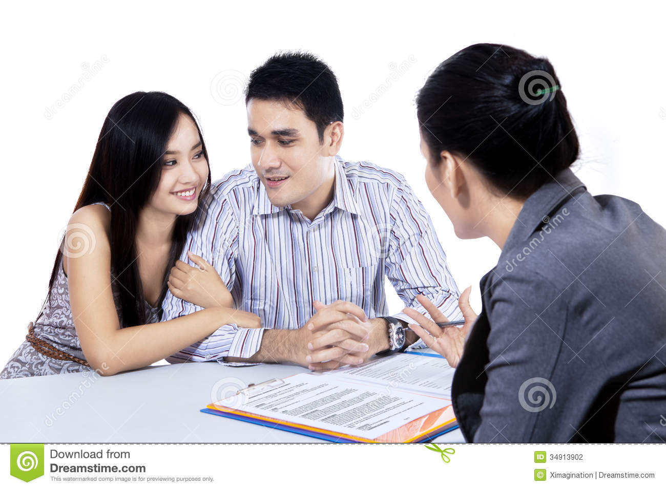 Young couple meeting financial consultant