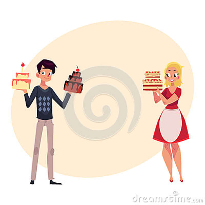 Young Couple Parent Man And Woman Holding Birthday Cakes Stock