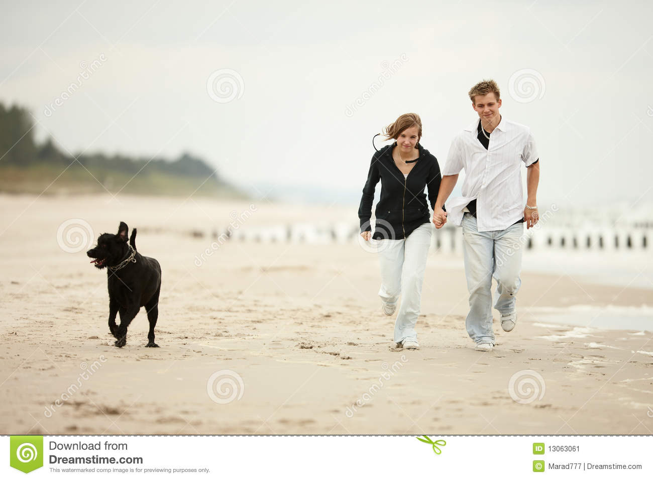 Question young couple play on beach