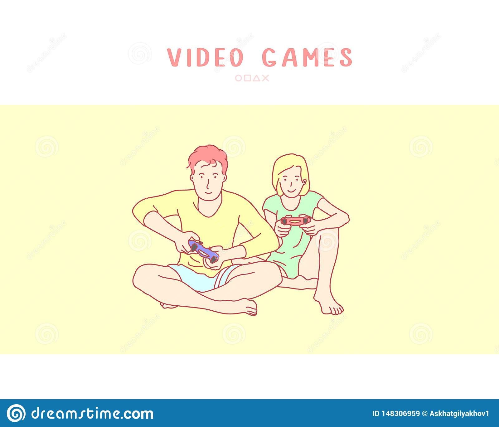 Young couple playing video game. hand drawn style vector