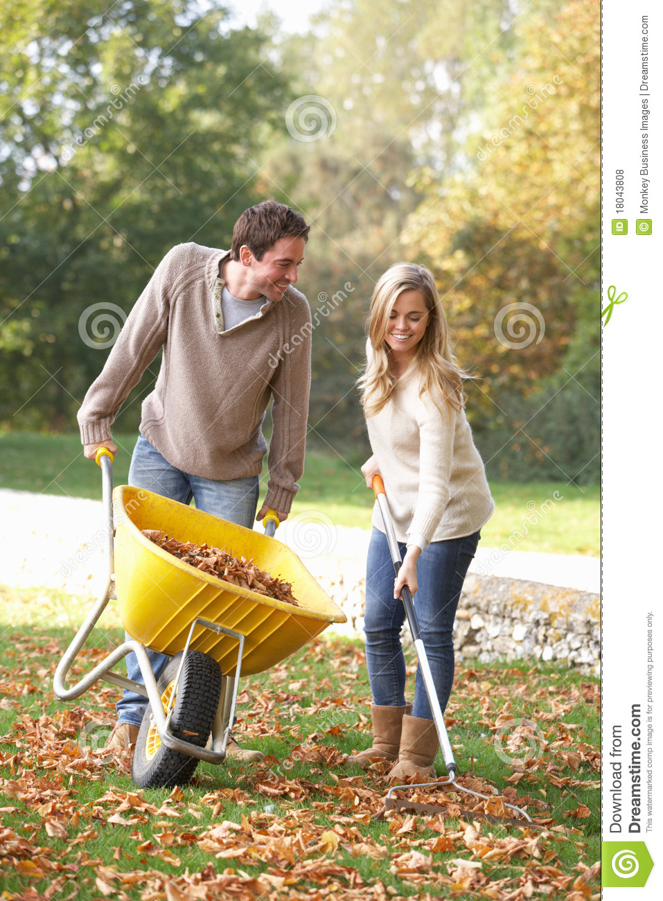 Young couple raking autumn leaves
