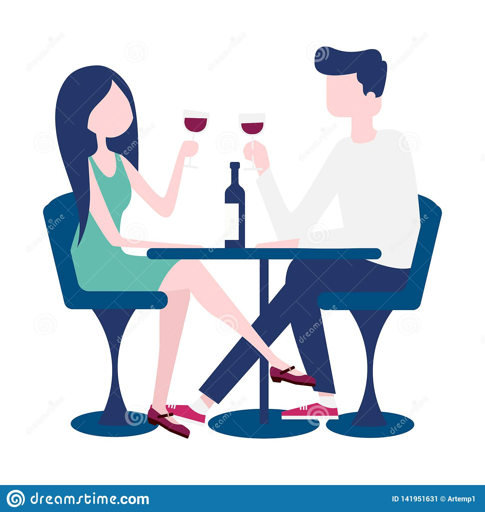 Young couple on a romantic date in a restaurant.