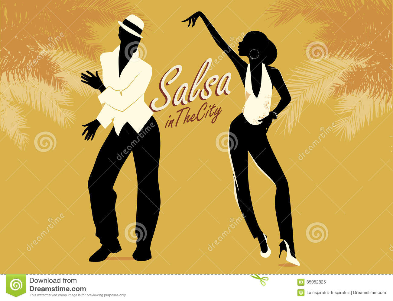 Salsa Cuban Music And Dance Illustration With Cartoon
