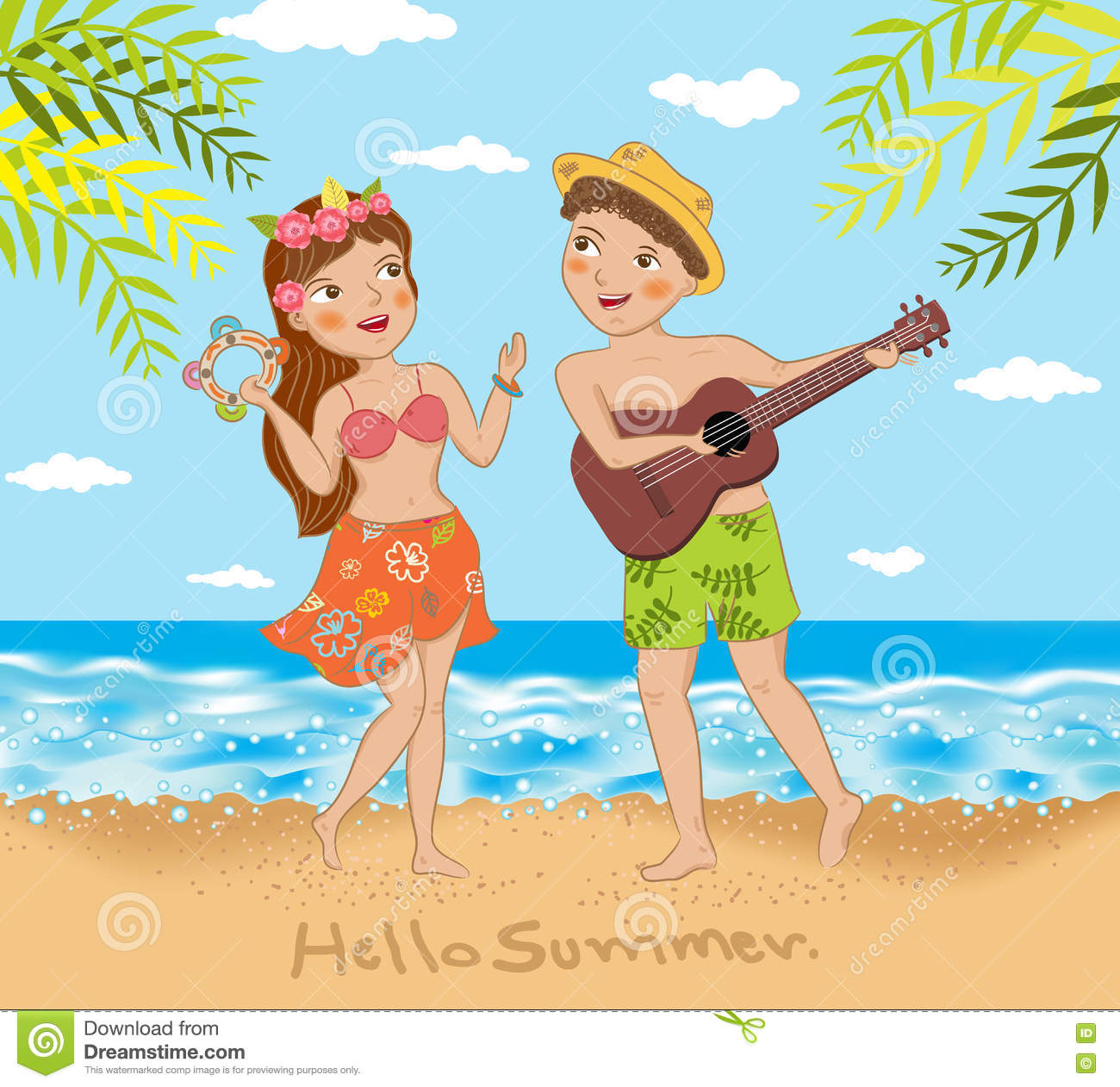 Young Couple Singing And Dancing On The Beach Stock Vector