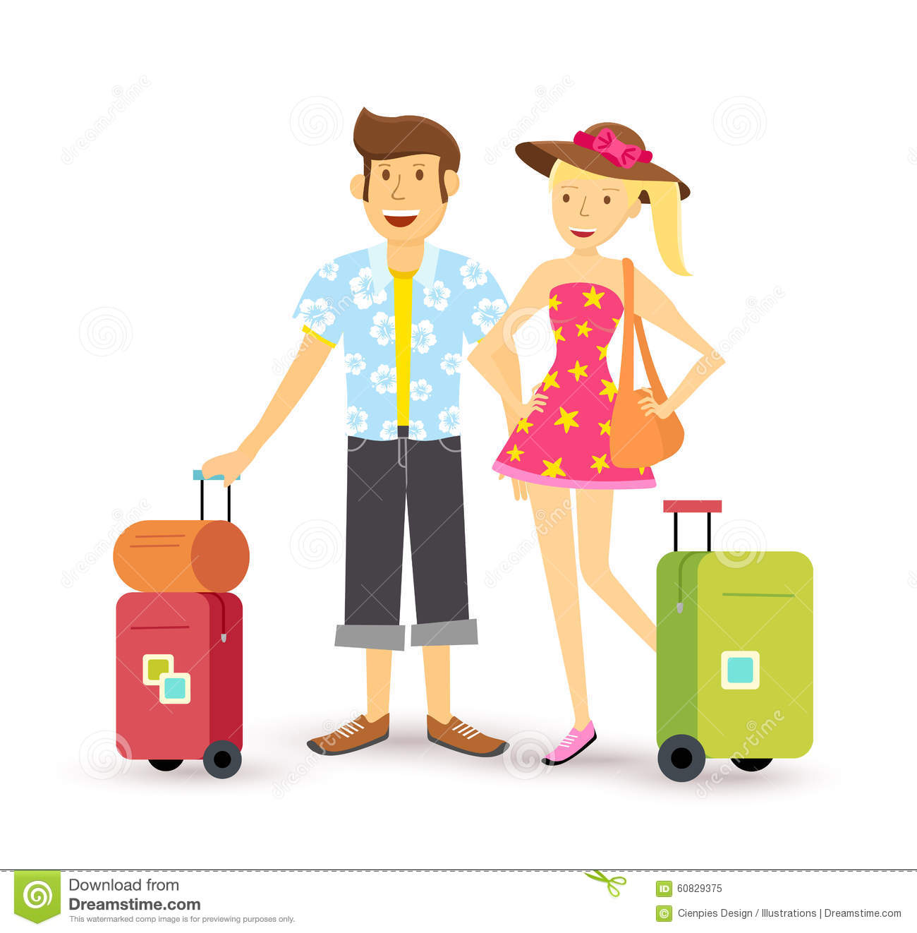 Couple Enjoying Their Summer Holidays Stock Photo: Young Couple Summer Holiday Vacation Travel Summer Stock