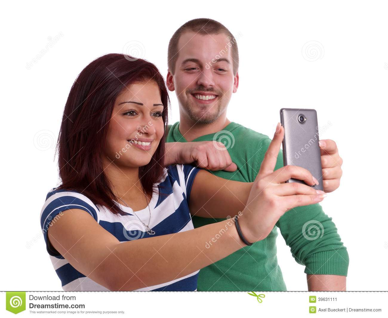 Stock Photo: Young couple taking selfie