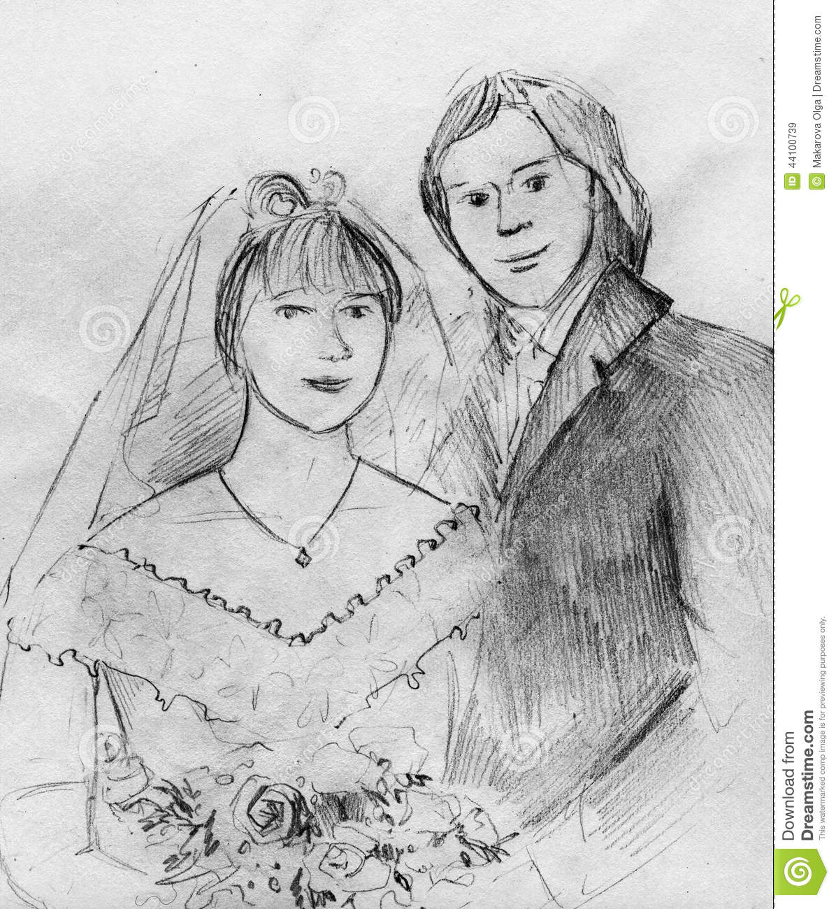Young Couple At Their Wedding Stock Illustration Image