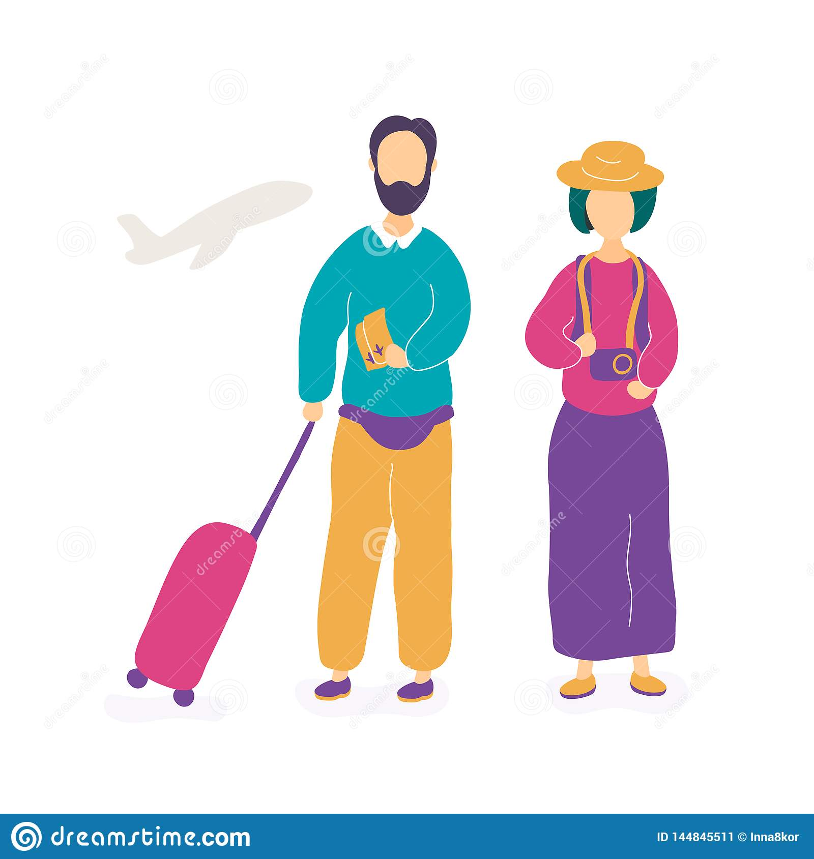 Young couple waiting for flight in airport