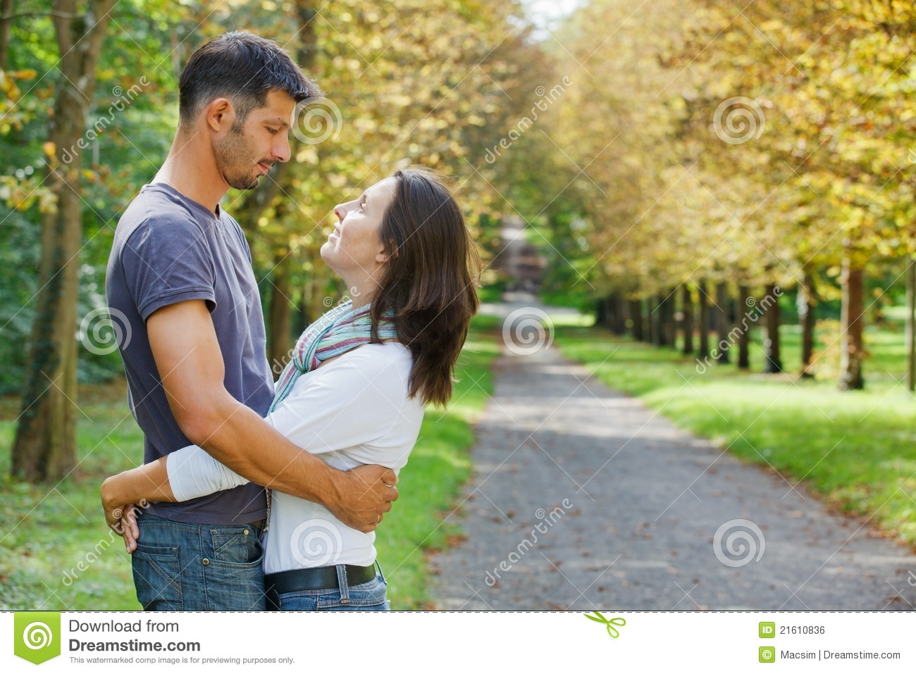 Royalty Free Stock Image  Young Couple Walking in autumn parkYoung Couple Walking In The Park