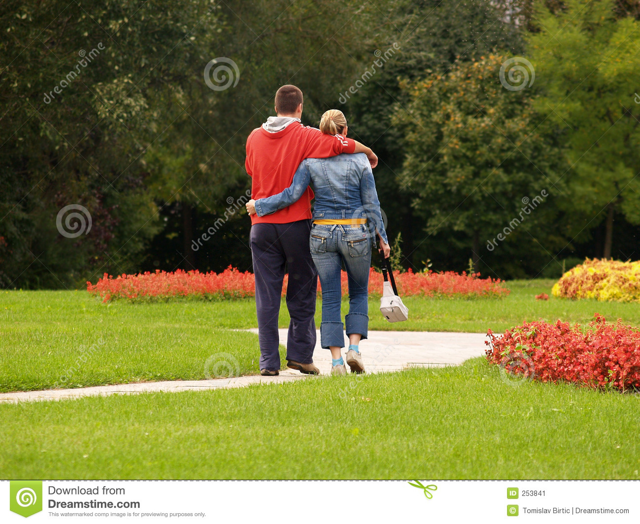 young couple walking in the park stock image image 253841