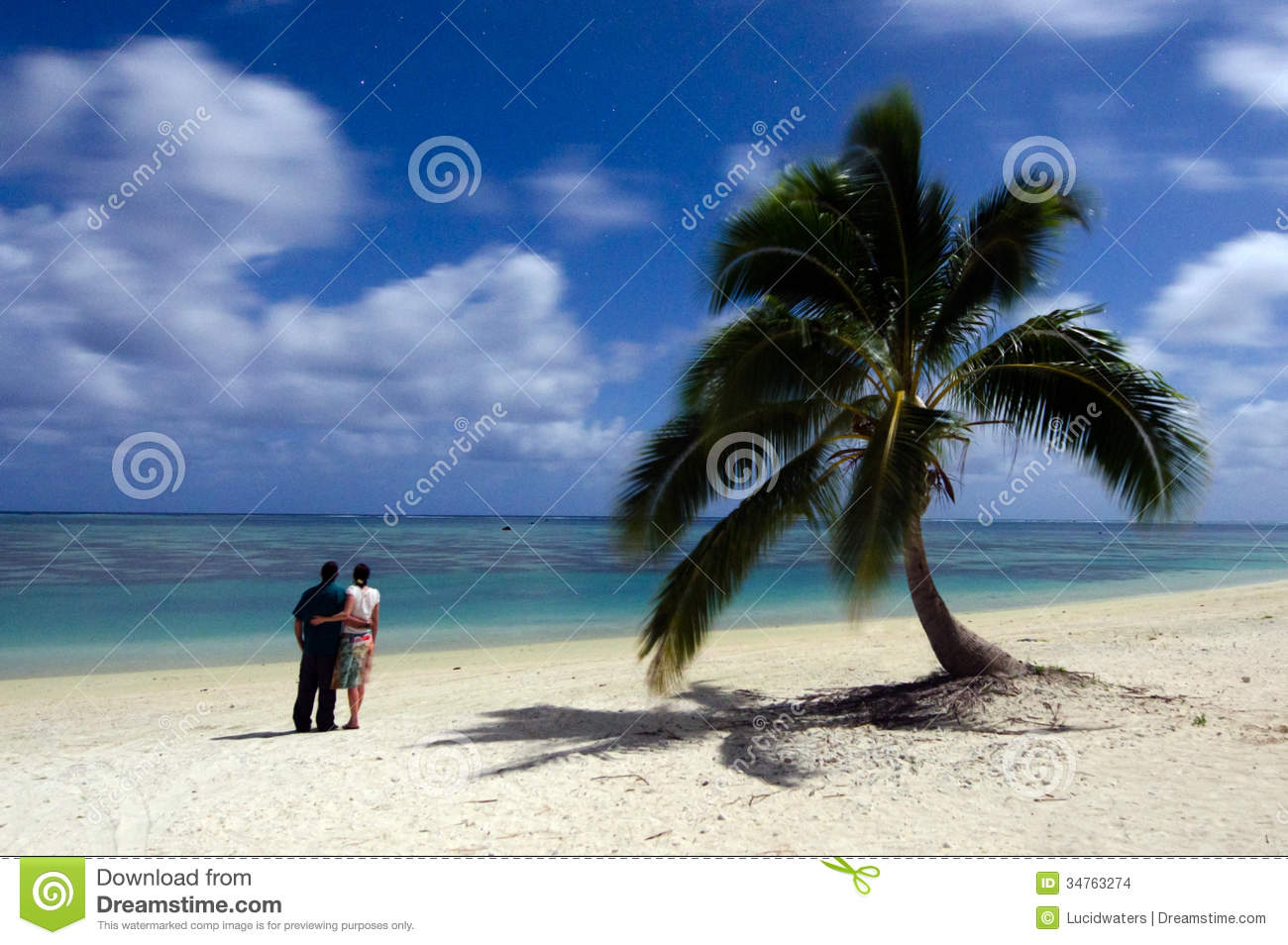 Tropical Island Beach Ambience Sound: Young Couple Watches The Stars At Night On Deserted
