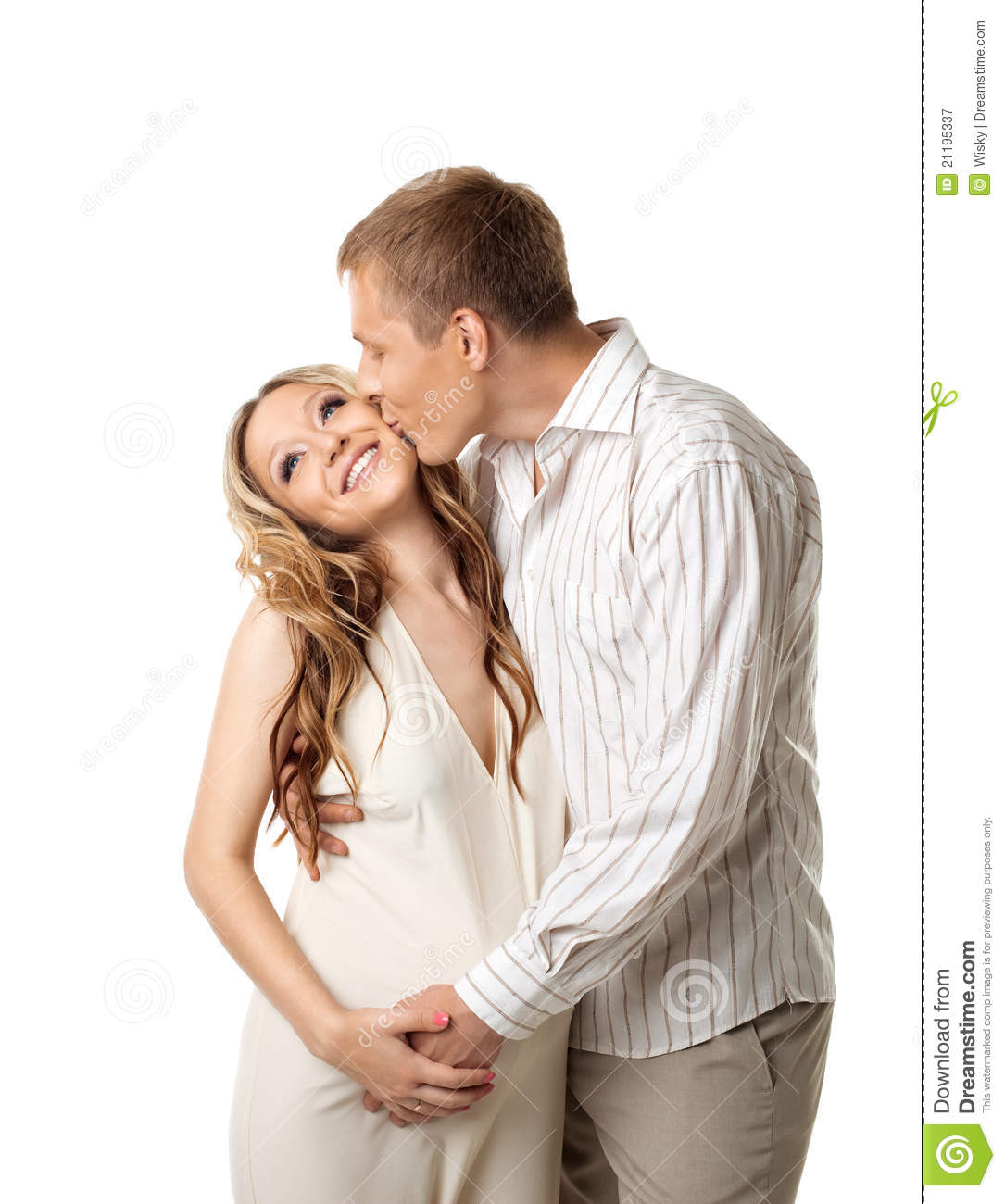 Young couple in white wait for baby kiss a whife