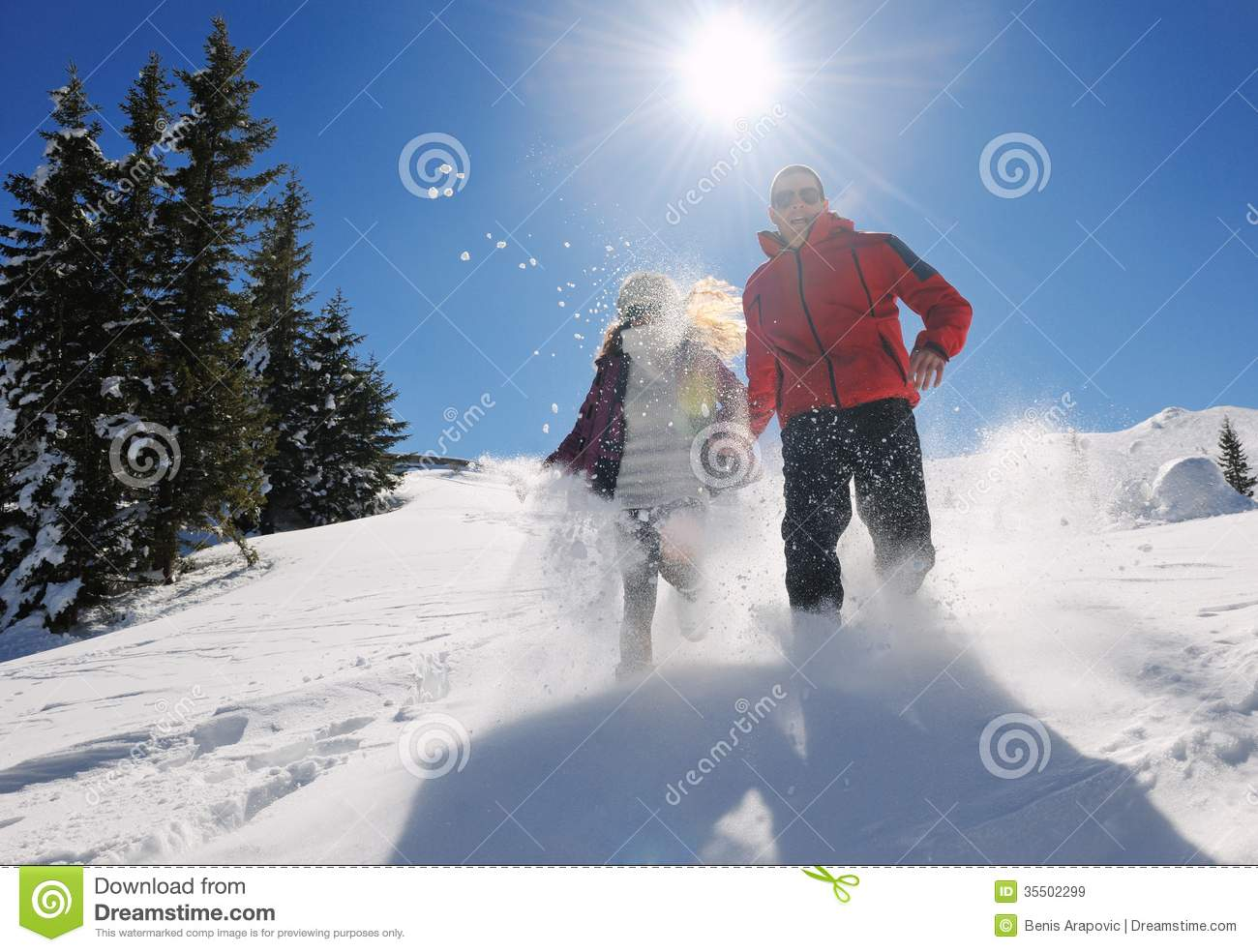 Young couple on winter vacation royalty free stock images for Vacation in the snow