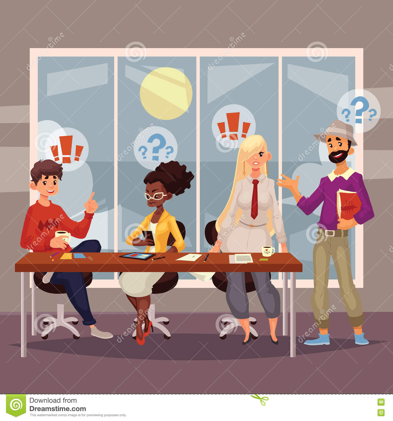 Download Young Creative Business People Discussing Ideas In Office Stock Vector