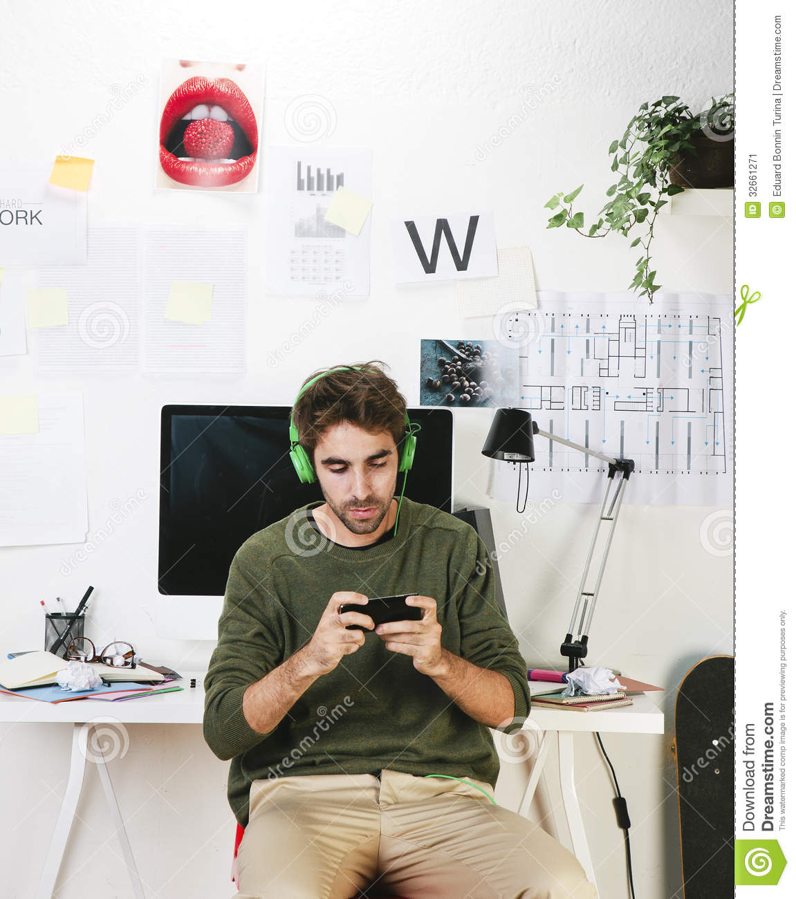 Young Creative Designer Man At Phone Working At Office And ...