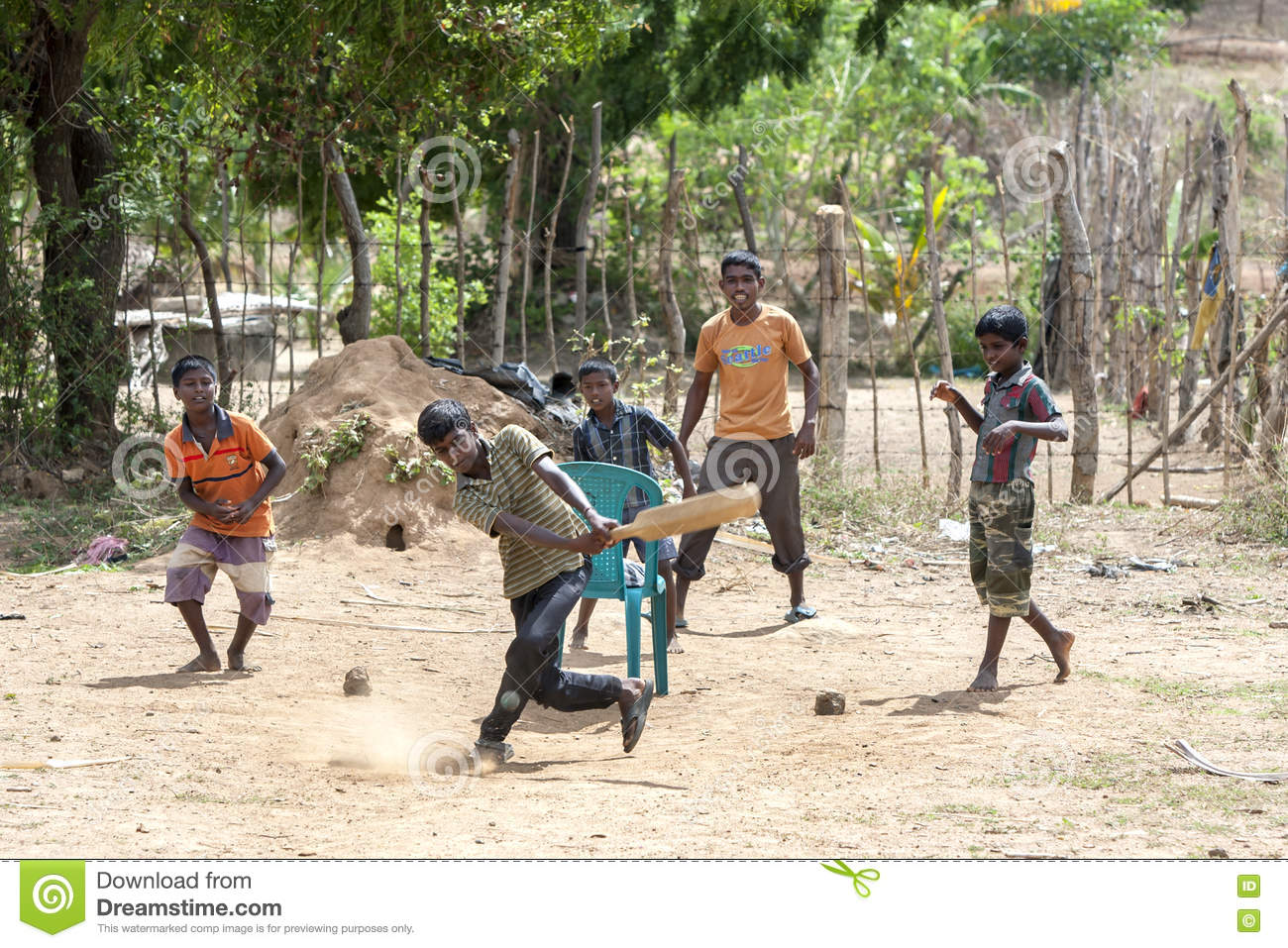 Young cricketers in Sri Lanka.