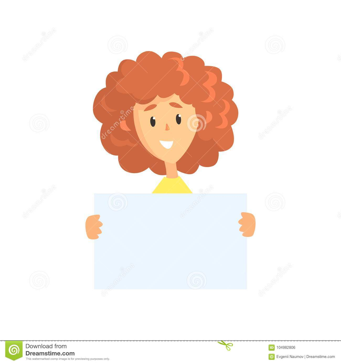 young curly haired woman holding blank sheet of paper funny female