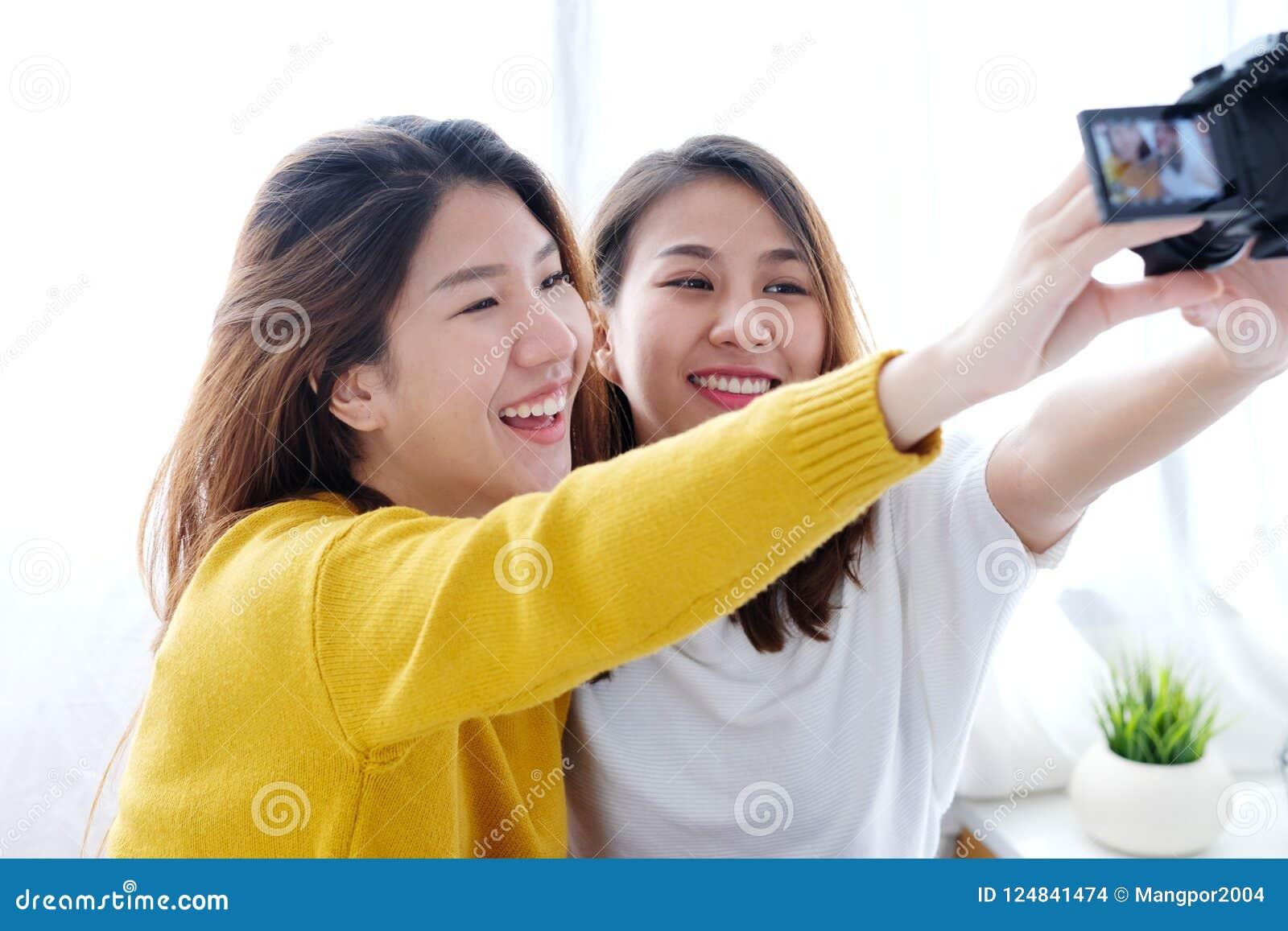 Young Cute Asian Woman Lesbian Couple Using Camera To -7098