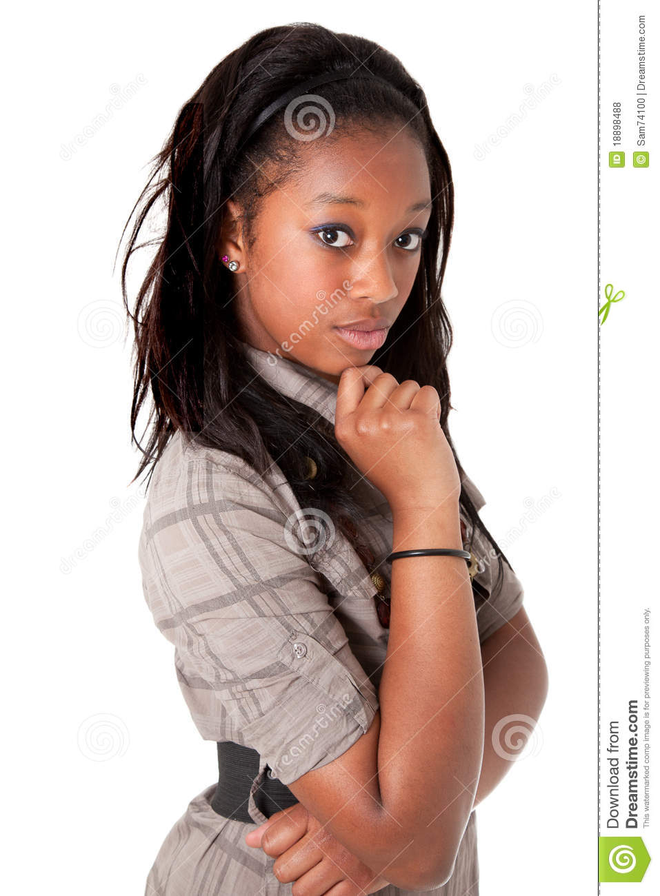 Young Cute Black Woman Thinking Stock Photo