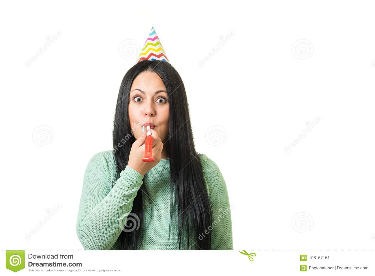Young Cute Brunette Girl Celebrating Birthday With Party Stuff