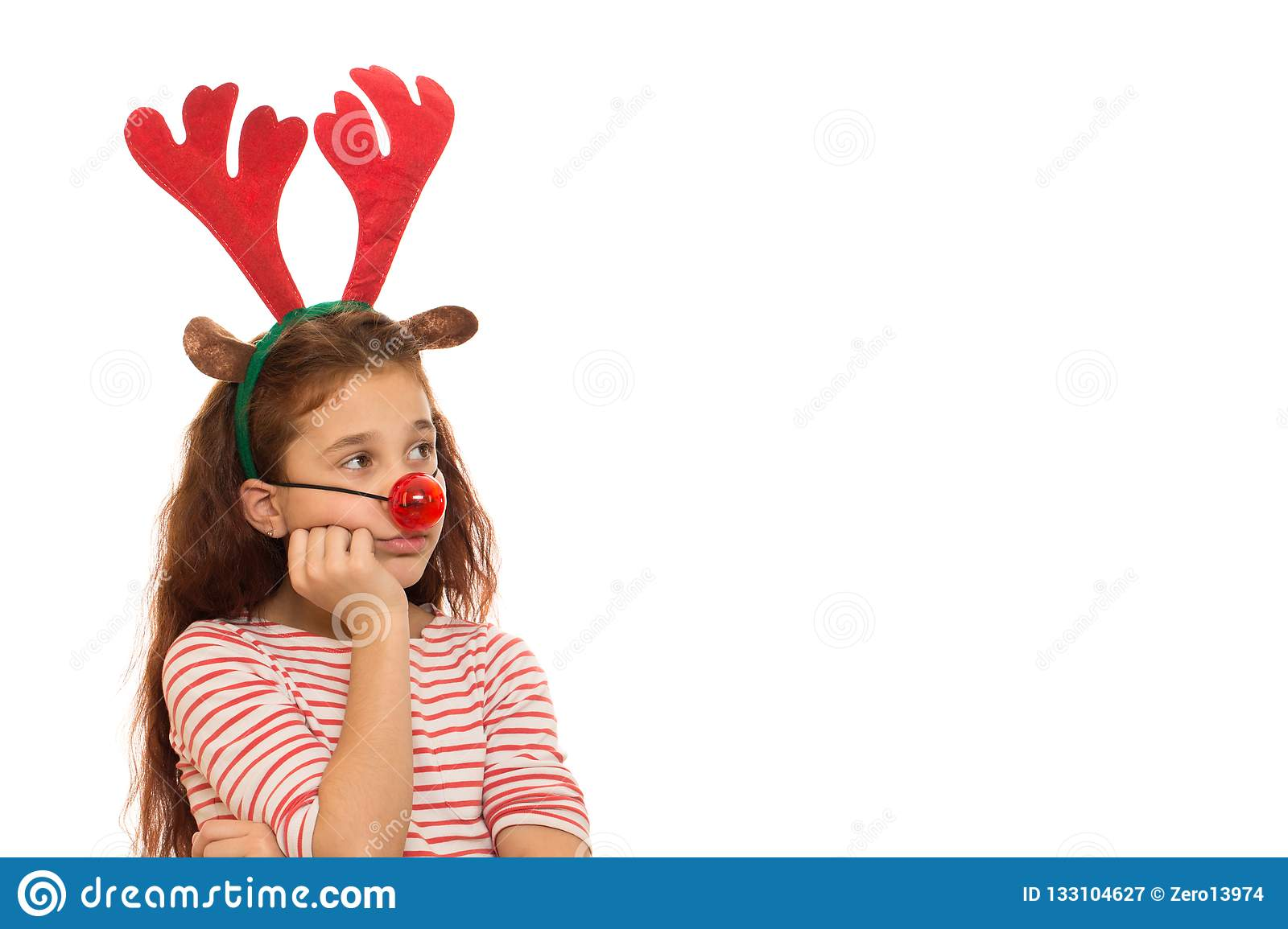 4bb36289e Cute Girl Wearing Christmas Antlers Stock Image - Image of festive ...