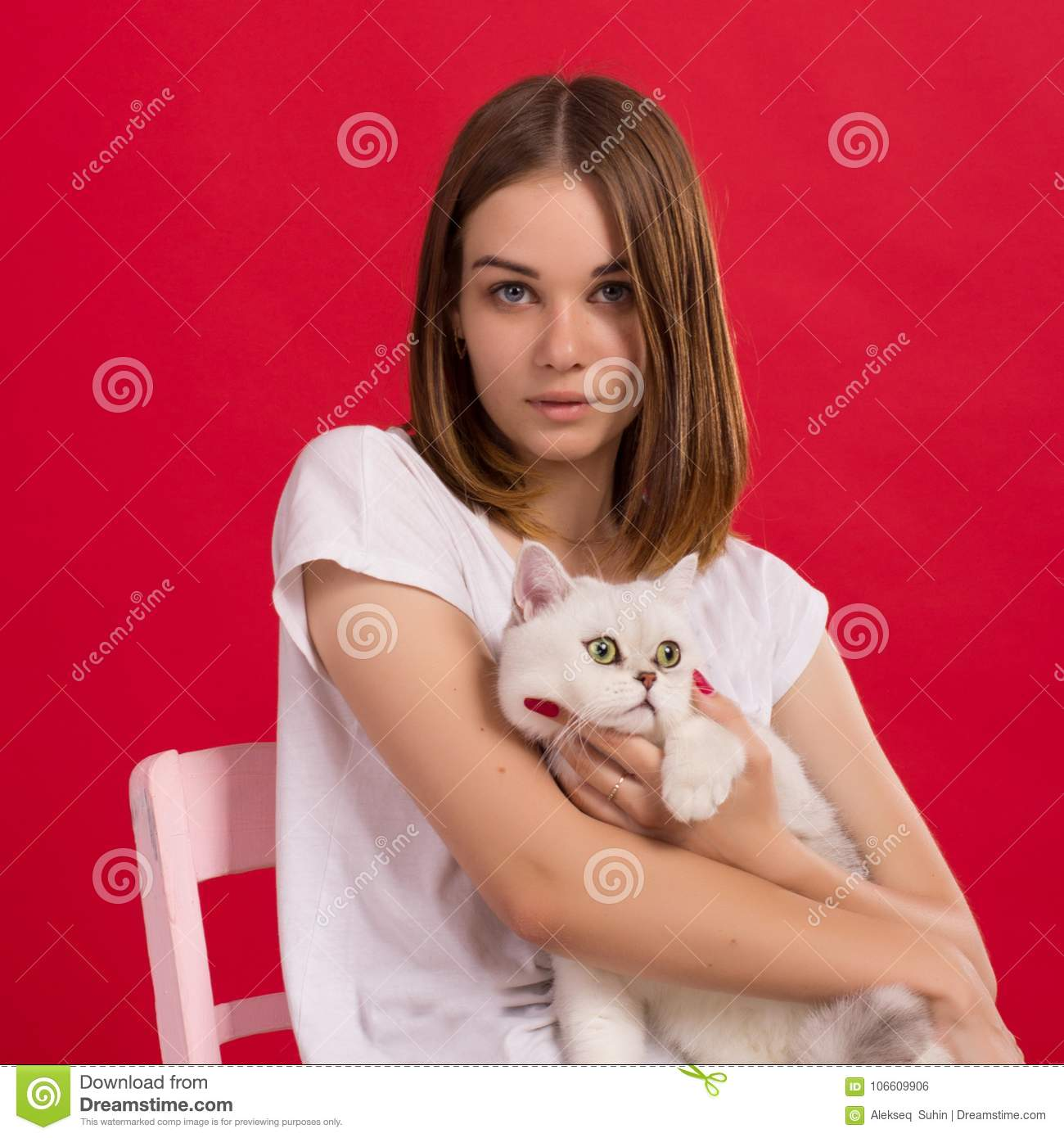 Young Cute Girl With Cat Studio Stock Photo Image Of Adult Isolated 106609906