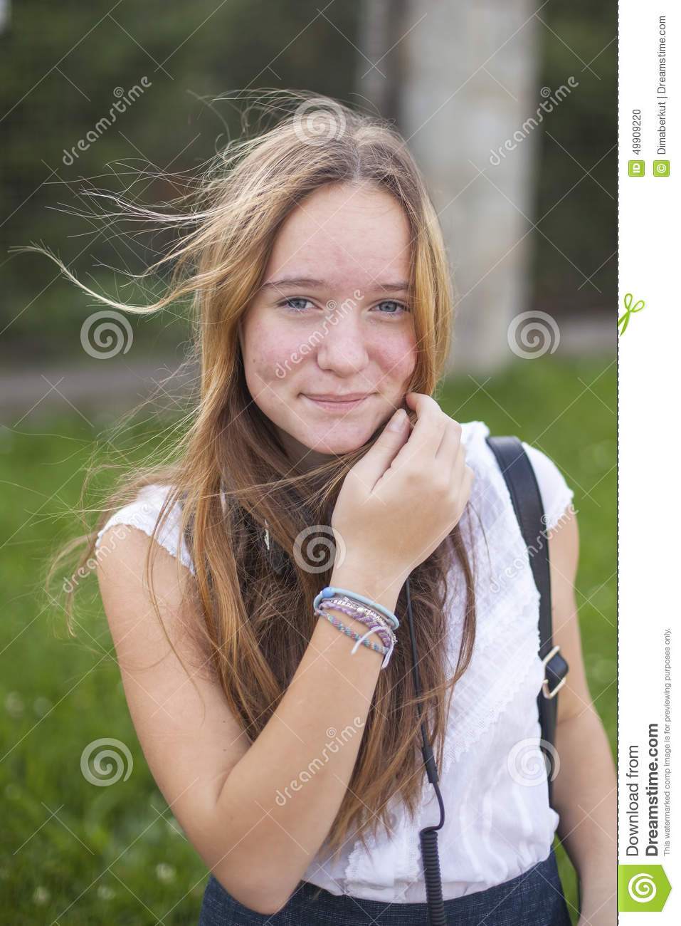 Young Cute Teen Girl Portrait Outdoors. Nature. Stock