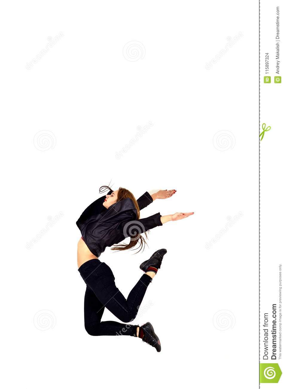 Modern Style Dancer Posing On White Background Stock Photo