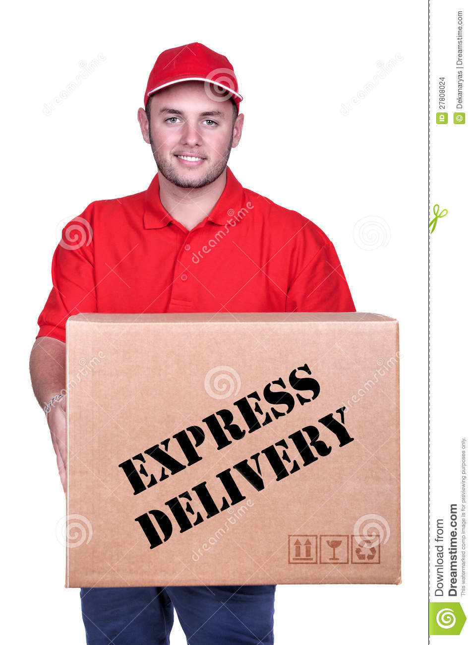 Young Delivery Man In Red Uniform Holding The Box Stock