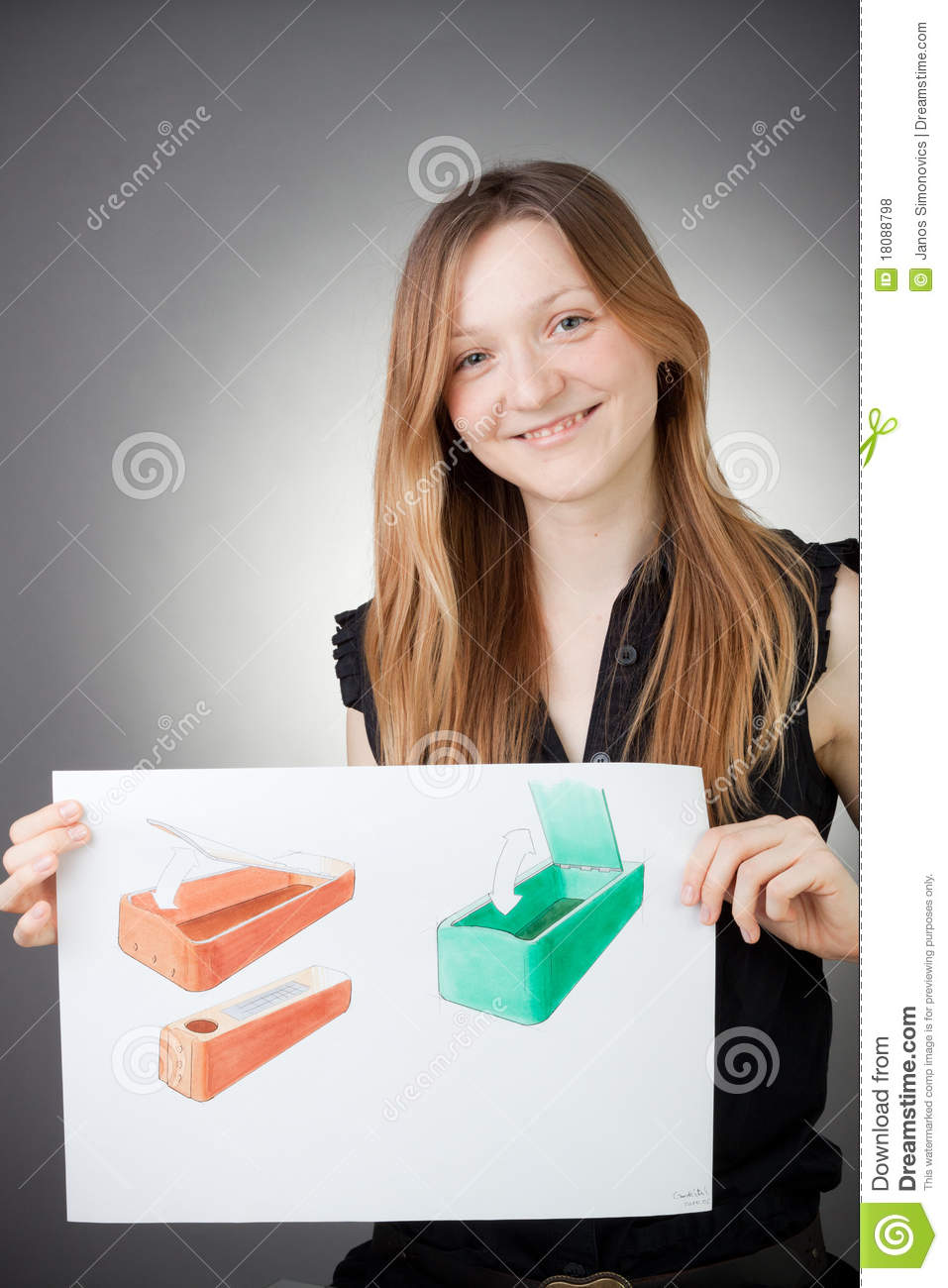 Young Design Engineer Woman Shows a Design Plan