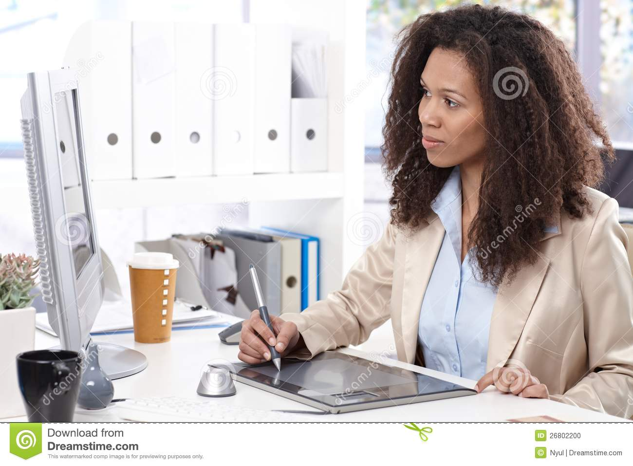 Office Working Desk Space Drawing Stock Photo