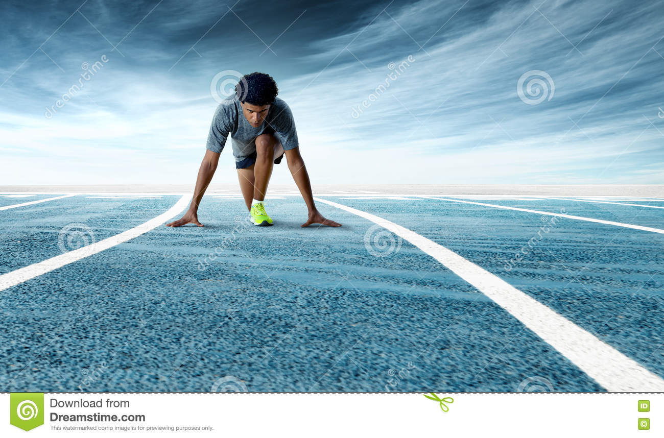 Download Young Determined Sprinter Preparing To Start On Running Track Stock Image - Image of exercise, runner: 75746477