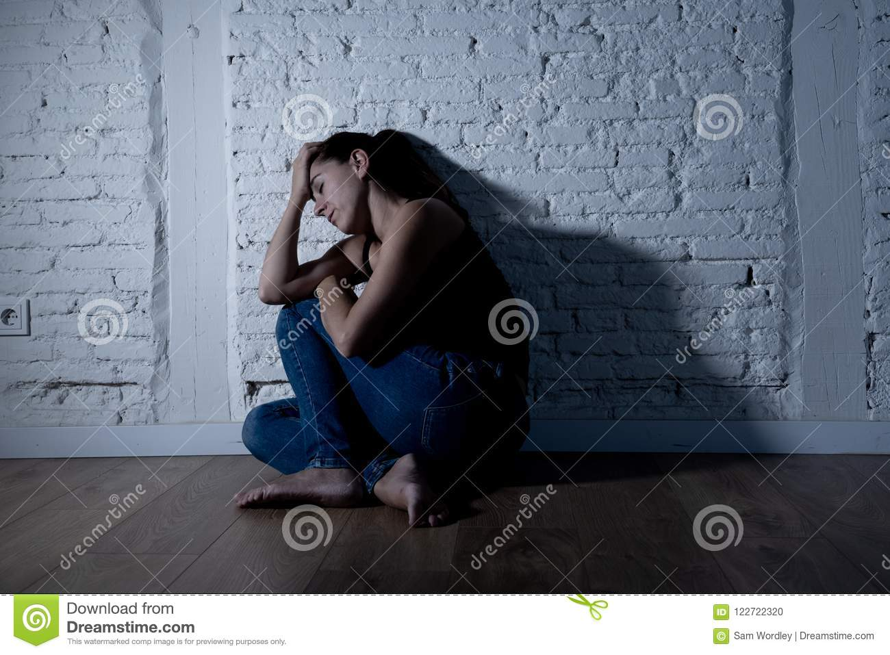 Lonely Woman Suffering From Depression Stock Photo - Image ...