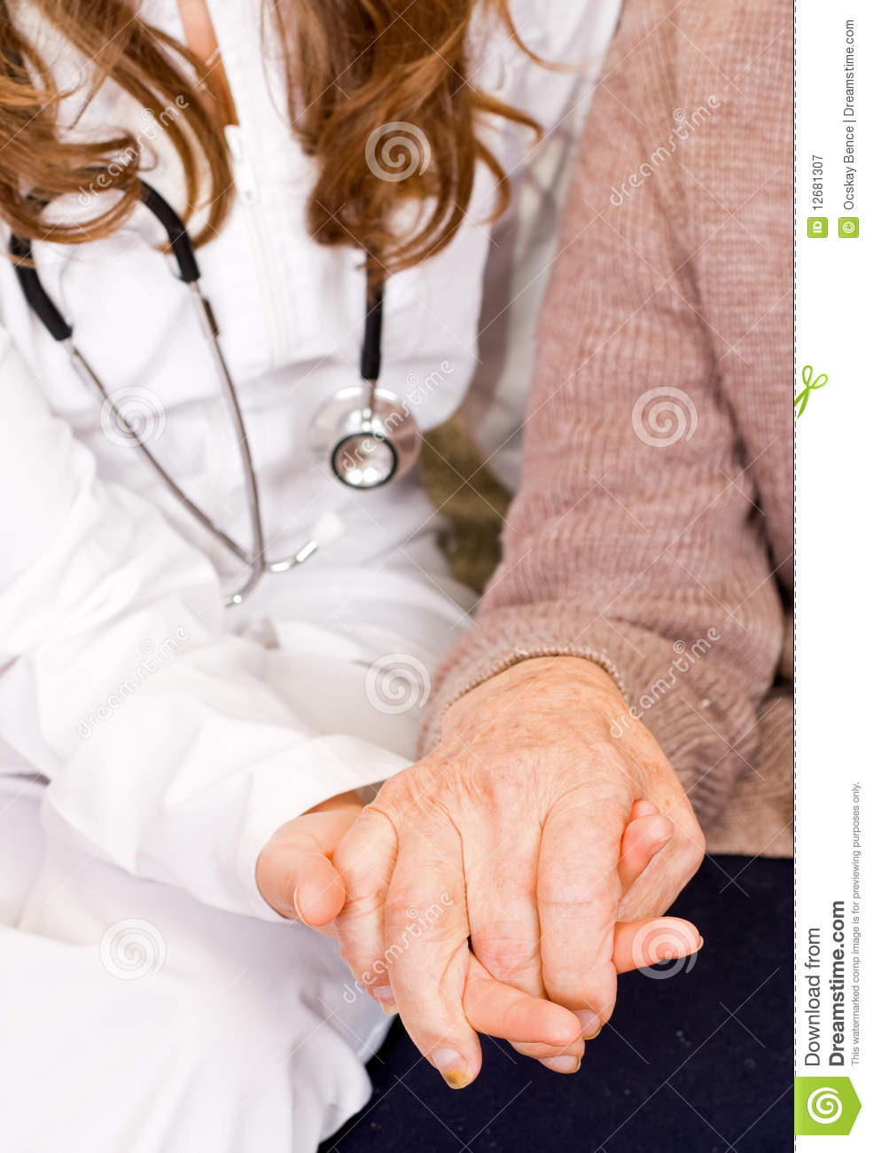 Young Doctor Holds Old Mans Hand Royalty Free Stock Photography - Image 12681307-6272