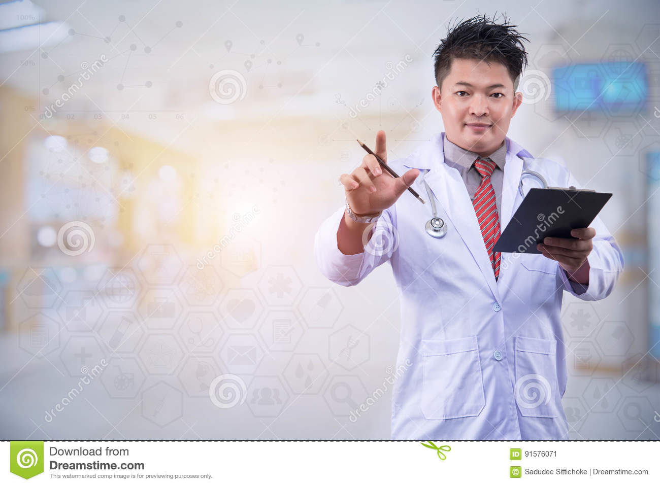 The young doctor intends to work in the back room Doctor hand working smart phone modern digital tablet laptop computer graphics c