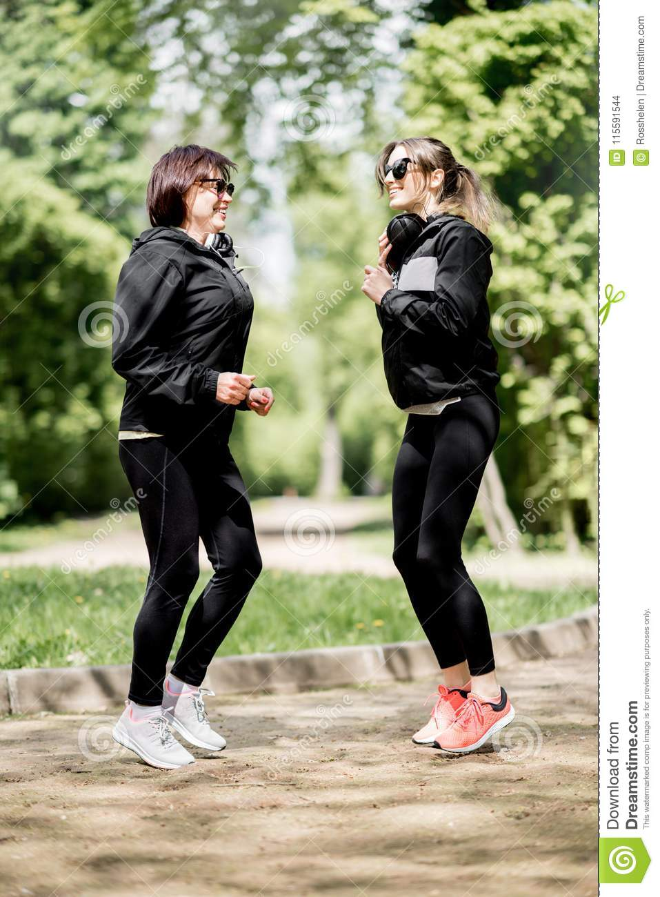 Two woman exercising in the park