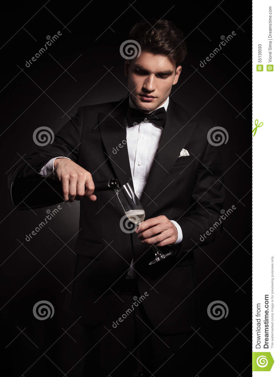 Young Elegant Man Pouring Wine In A Glass Stock Image ...