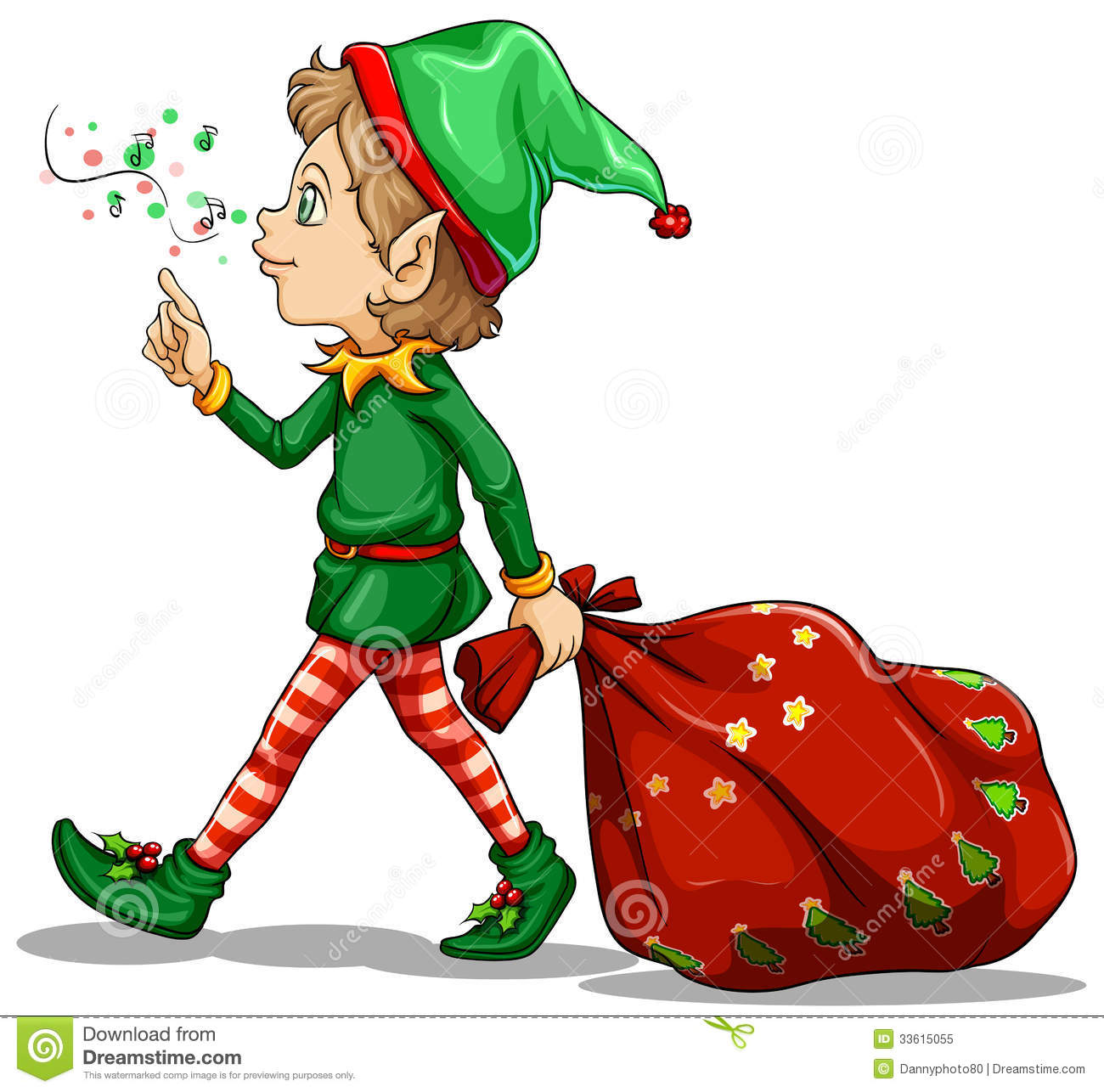 A Young Elf Dragging A Sack Of Gifts Royalty Free Stock Photo Image 33615055