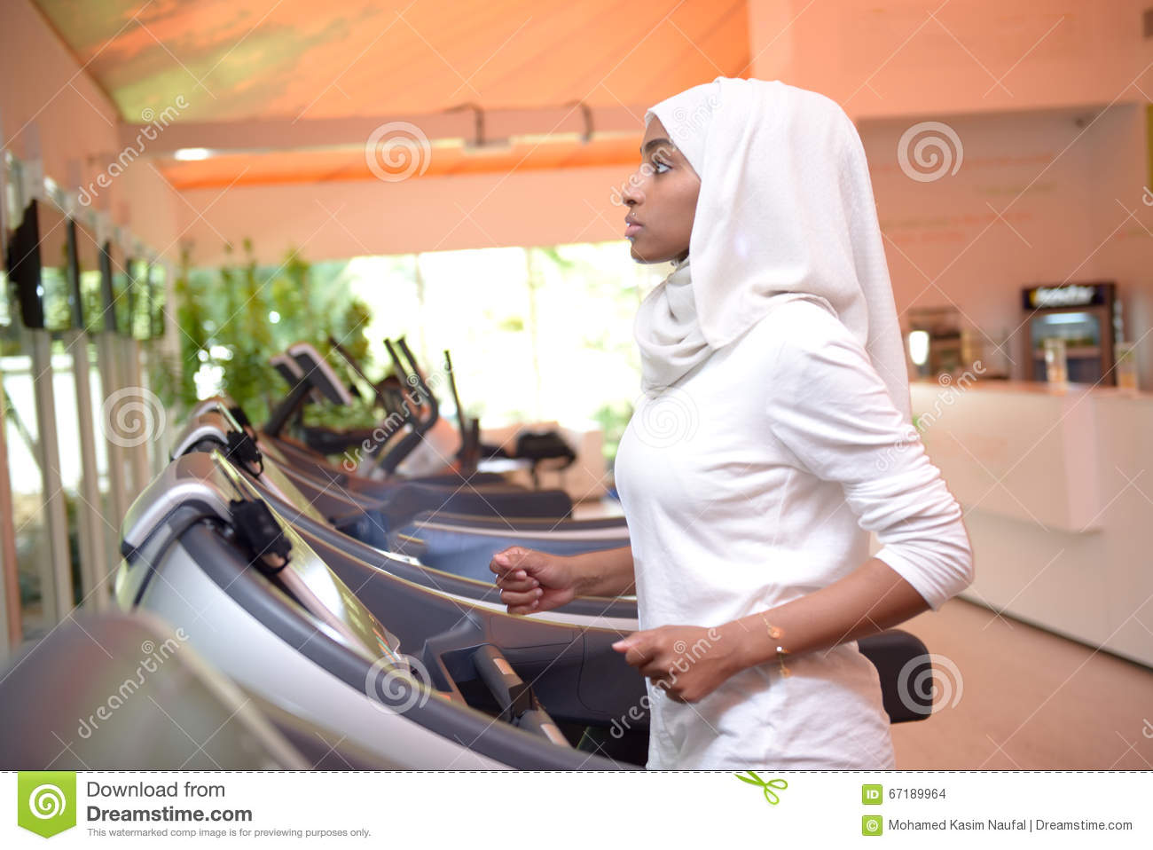 Young Emirati Arab Women Wroking Out In A Gym Stock Photo ...