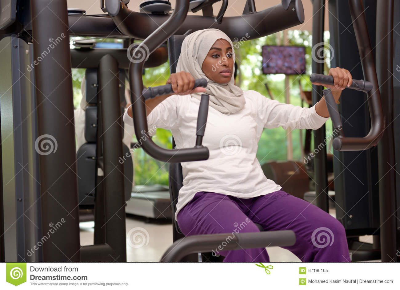 Young Emirati Arab Women Wroking Out In A Gym Stock Image ...