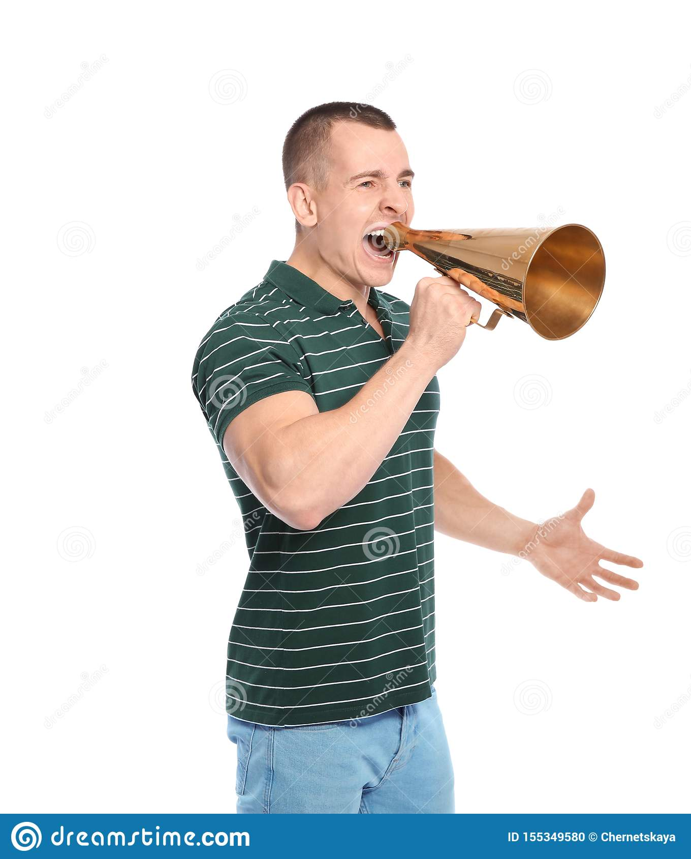 Young emotional man with megaphone on white